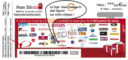 cheque Pass 3Skdo avec logo CINECHANGE.FR